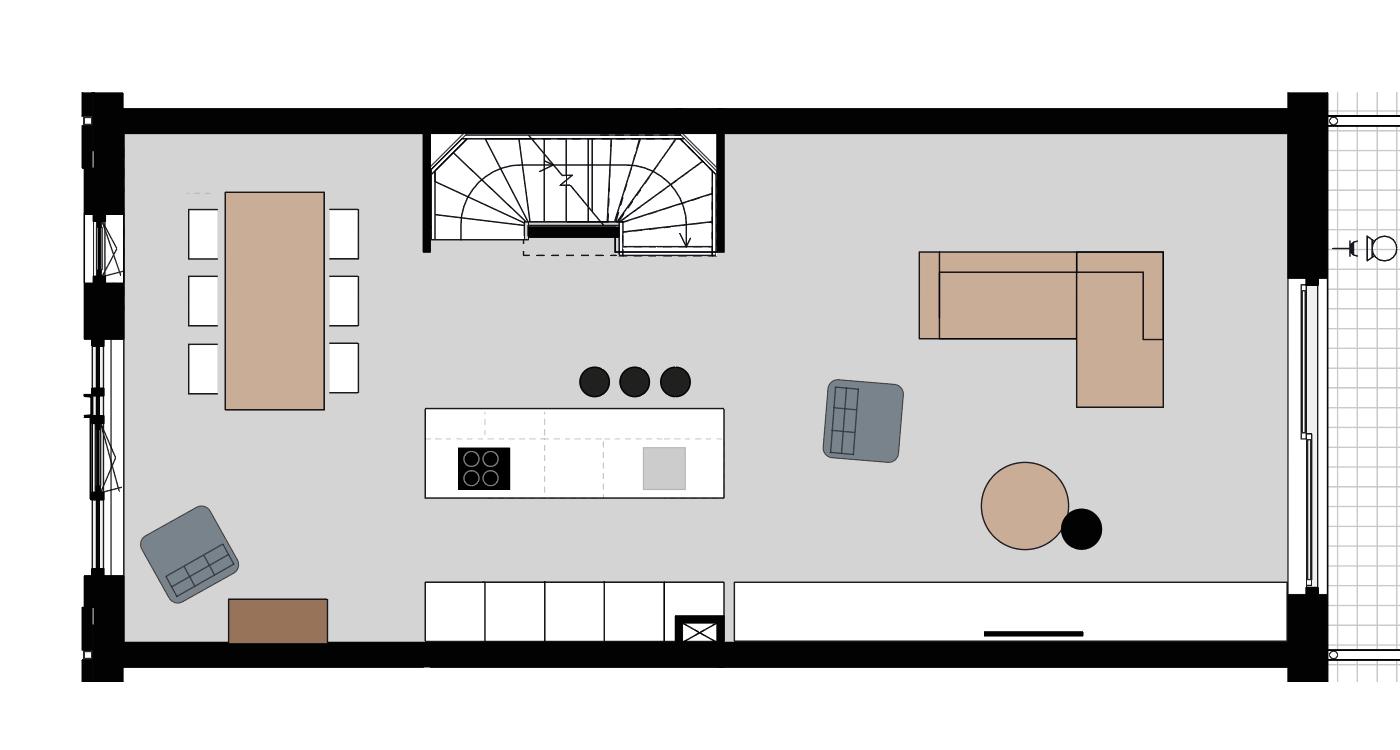 Indeling 3: Eilandkeuken in het midden van de woning
