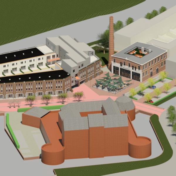 Impressie schets tekening nieuwbouw nieuwbouwwoning nieuwbouwhuis kadewoning Defensie-eiland Woerden